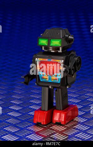 Robot with Illuminated Control Panel - Stock Image