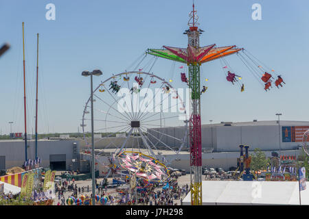 Carnival rides at the Houston Livestock Show and Rodeo - Stock Image