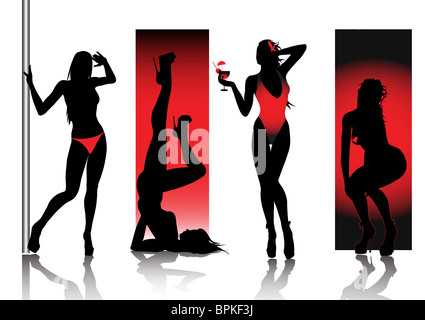 Sexy Silhouettes In Red - Stock Image
