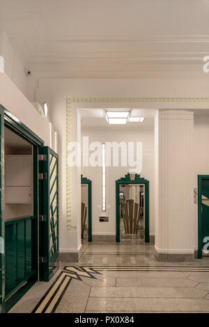 Communal area in the iconic art deco Hoover Building in London, UK which has been converted into apartments by Interrobang Architects and Webb Yates E - Stock Image