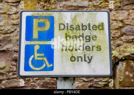A disabled badge holder parking sign. - Stock Image