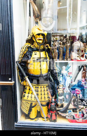 Samurai warrior uniform for sale in shop window samurai sword Japanese samurai armor armour protection ultimate - Stock Image