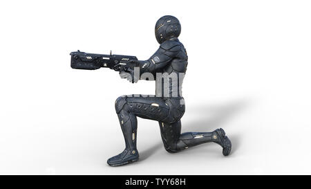 Futuristic android soldier in bulletproof armor, military cyborg armed with sci-fi rifle gun kneeling and shooting on white background, 3D rendering - Stock Image