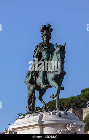 Bronze equestrian statue of King Jose I in Lisbon, sculpted by Joaquim Machado de Castro, unveiled on the king's - Stock Image