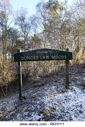 Welcome to Dundee Law Woods sign Dundee Scotland  January 2019 - Stock Image