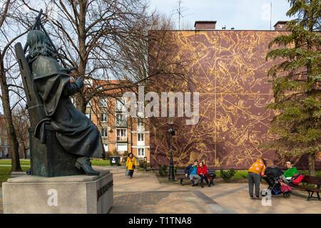 Johannes Hevelius statue, Gdansk, Poland - Stock Image