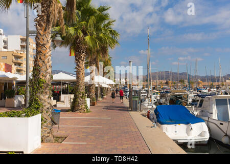 Puerto de Mazarron harbour Murcia Spain with cafes and palm trees and boats - Stock Image