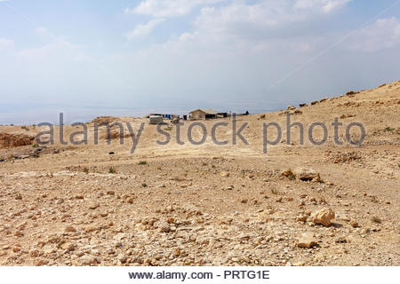 Bedouin Shepherd's Camp in a Desert Environment - Jordan 2018 - Stock Image