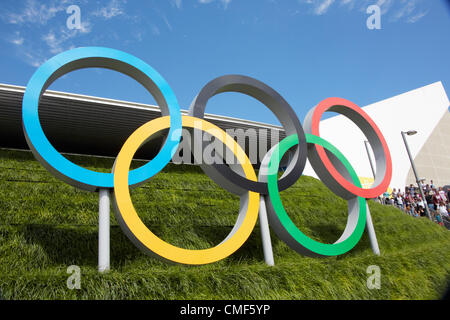 Olympic Rings outside Aquatic Centre at Olympic Park, London 2012 Olympic Games site, Stratford London E20 UK, - Stock Image