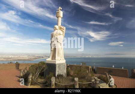 Cabrillo National Monument Statue at Point Loma and San Diego Bay Seascape in the Background - Stock Image