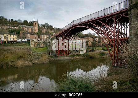 Iron Bridge at Ironbridge, Shropshire,UK. 26 January 2019 Newly restored and repainted in original red colour following a £3.6million restoration - Stock Image