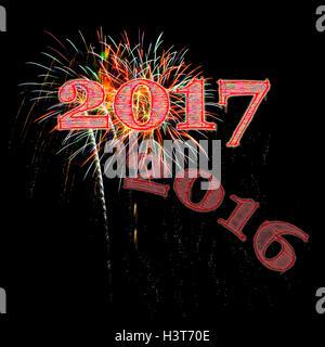 Fireworks illustration celebrating 2017 black background night sky New Year's Day New Years Eve Hello 2017 goodbye - Stock Image