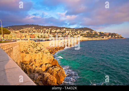 City of Nice waterfront and harbor sunset view, French riviera, Alpes Maritimes department of France - Stock Image
