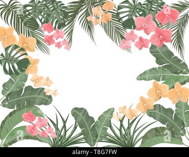 Tropical leaves of banana, coconut, monstera and ogawa, pink orchid in pastel colors. Place for advertising, advertising. illustration - Stock Image