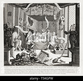 A Just View of the British Stage by William Hogarth, engraving, 1724 - Stock Image
