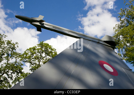 Old missile at the Danish UN Soldiers war memorial park at Rindsholm Inn near Viborg Denmark - Stock Image
