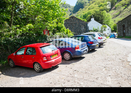 Limited parking spaces at Stonethwaite in the Lake District - Stock Image