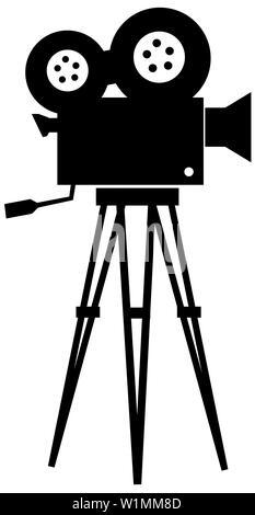 movie retro cinematography object cinema silhouette  movie tripod - Stock Image