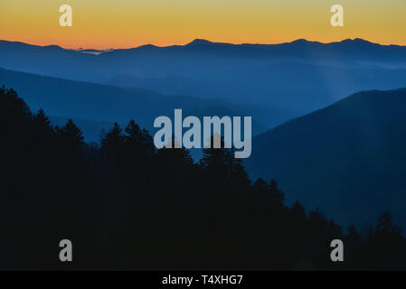 Early morning sunrise from the summit at Newfound Gap in the Great Smoky Mountains National Park in autumn, outside Gatlinburg, TN, USA - Stock Image