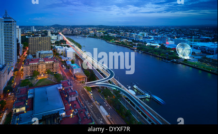 Brisbane city aerial at night, QLD Australia - Stock Image