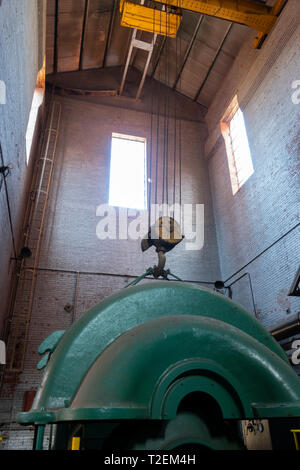 USA Alabama Birmingham The Sloss Furnaces now a National Historic Landmark once a pig iron plant - interior of a blower - Stock Image