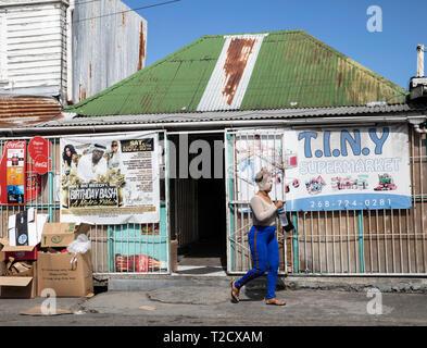 Tiny store in Saint John's, Capital of Antigua and Barbuda - Stock Image