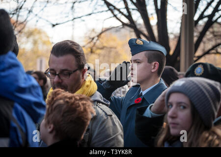 OTTAWA, CANADA - NOVEMBER 11, 2018: Soldier from Canadian Royal Air Force doing a military salute and wearing remembrance poppy, standing on ceremony  - Stock Image
