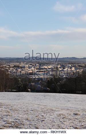 Elevated view of Tannadice Park stadium Dundee United Football Club Scotland January 2019 - Stock Image