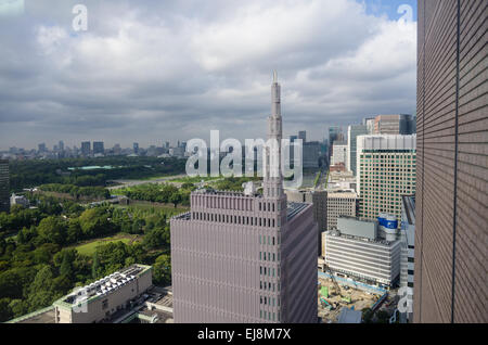 View from the Imperial Hotel Tokyo towards the Hibiya Park and Imperial Palace, Chiyoda District, Tokyo, Japan - Stock Image