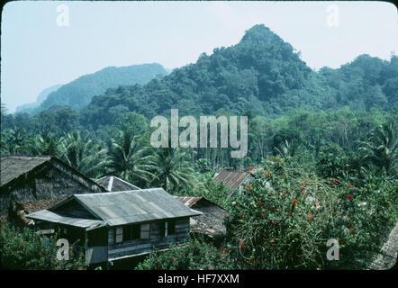 Longhouse village near mountains, covered with rainforest; Kuching area, Sarawak, NW Borneo, Malaysia. - Stock Image