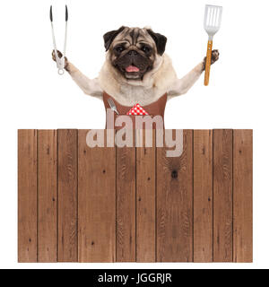 smiling pug dog wearing leather barbecue apron, holding meat tong and spatula, behind wooden fence, isolated on - Stock Image