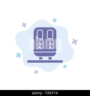 Back, Railway, Train, Transportation Blue Icon on Abstract Cloud Background - Stock Image