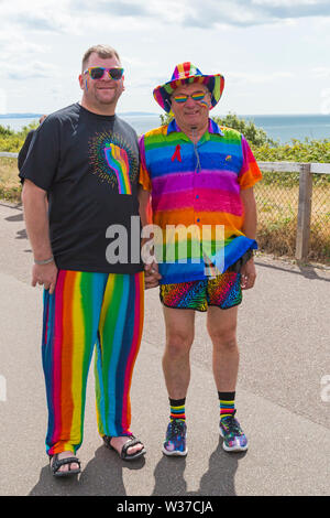 Bournemouth, Dorset, UK. 13th July, 2019. Bourne Free parade at Bournemouth - crowds turn out to watch Bournemouth's annual LGBT Pride Festival and celebration of diversity. The theme this year is Paint the World with your Pride. Credit: Carolyn Jenkins/Alamy Live News - Stock Image