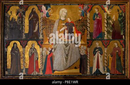 Virgin and Child Enthroned with Saints, Giuliano da Rimini, 1307, Isabella Stewart Gardner Museum, Boston, Mass, Massachusetts, North America, US, USA - Stock Image