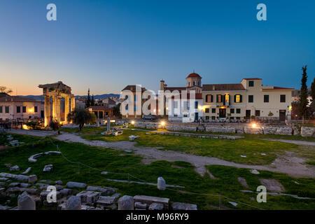 Twilight at Ancient Roman Market - Athens - Stock Image