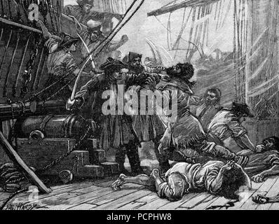 Revenue Cutters Capturing an American Smuggling Vessel; Illustration from Cassell's History of England, King's Edition Part 33 - Stock Image