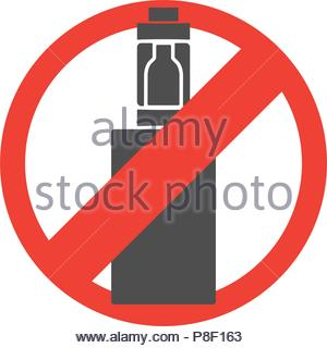 Crossed in the red circle of an electronic cigarette. Vector illustration - Stock Image