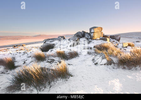 Snow on Rowtor Dartmoor national park Devon uk - Stock Image