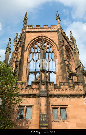A view of the ruin of St Michaels - part of the Coventry Cathedral buildings which was bombed by the Luftwaffe during the Second World War. - Stock Image