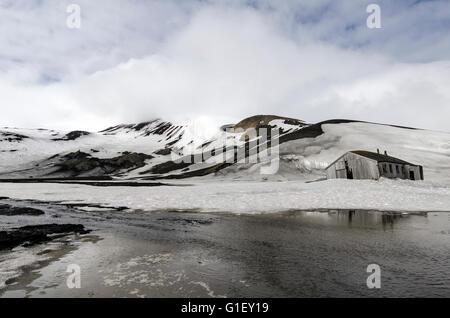 Old whaling station Deception Island South Shetland Islands Antarctic Peninsula Antarctica - Stock Image