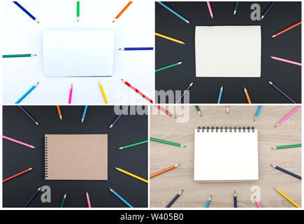 Open notepad with pencils. Back to school concept - Stock Image