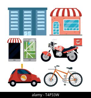 city delivery service vehicles items isolatedated icons vector illustration graphic design - Stock Image