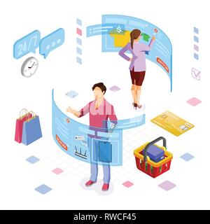 Isometric Virtual Augmented Reality Shopping - Stock Image