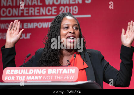 Dawn Butler addressing the Labour Party Women's Conference in Telford, UK. - Stock Image