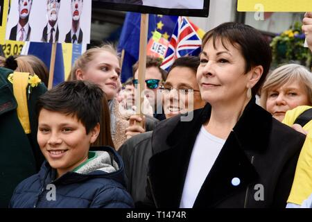 London, UK. 23rd March, 2019. Caroline Lucas, People's Vote March, Whitehall, London. UK Credit: michael melia/Alamy Live News - Stock Image