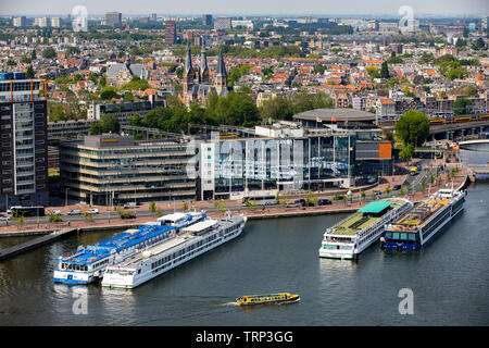 Amsterdam, Netherlands, view over the old town, in front the pier for the river cruise ship, river Ij, - Stock Image