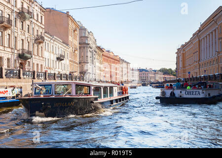 19 September 2018: St Petersburg, Russia - Sightseeing boats on the River Neva, - Stock Image