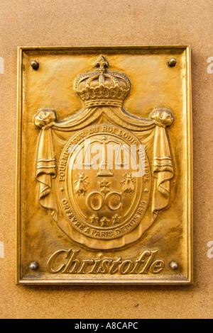 Paris France Rue Royale Christofle shop emblem - Stock Image