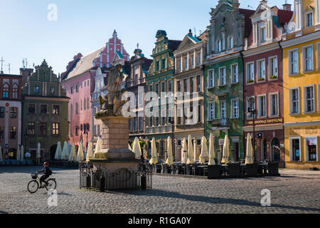 Poznan city center, view on a summer morning of a woman riding a bike through the Market Square (Stary Rynek) in Poznan Old Town centre, Poland. - Stock Image