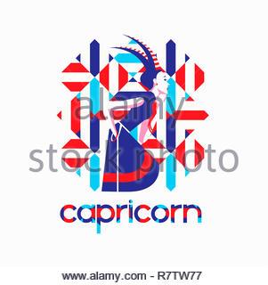 Fashion model in geometric pattern as capricorn zodiac sign - Stock Image